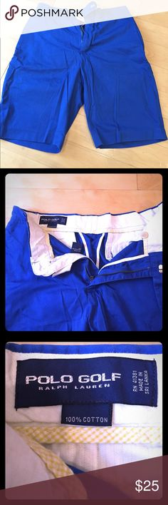 Polo Golf Ralph Lauren shorts Polo Golf Ralph Lauren shorts. Size is 32 waist. Color is blue. Great condition, no tears or stains. Could also be used as normal (non-golf) shorts. I just have a couple other pairs of golf shorts and don't wear these that much which is why I'm selling them. Polo by Ralph Lauren Shorts Flat Front