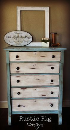 Empire Dresser Makeover painted in Annie Sloan duck egg blue and old white Empire Dresser Makeover painted in Annie Sloan duck egg blue and old white – Mobilier de Salon Refurbished Furniture, Repurposed Furniture, Shabby Chic Furniture, Shabby Chic Decor, Rustic Furniture, Furniture Makeover, Diy Furniture, Bedroom Furniture, Dresser Makeovers