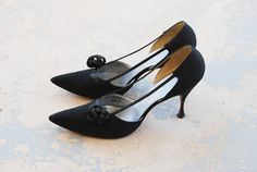 vintage 50s High Heels  1950s Black Cut Out Stiletto by jessamity, $32.00