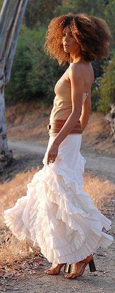 Ruffle Maxi Skirt cute. love the wide belt. Different shirt, though.