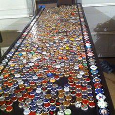 Beer Bottle Caps For Our Garage Bar!
