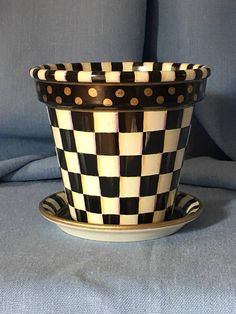 Checkered Black and White Hand Painted Ceramic Planter Flower