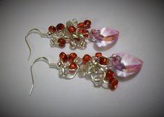 Valentine Heart Earrings, Cluster Earrings, Pink Heart Earrings, Heart Earrings, Valentine Earrings, Dangle Heart Earrings by VintagePlusCrafts on Etsy