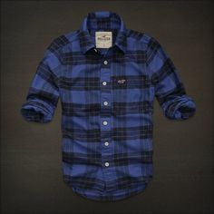 NWT NEW HOLLISTER By Abercrombie MENS GUYS CASUAL SHIRT FLANNEL PLAID S Blue