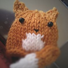 Free knitting pattern for tiny Fox Hat to benefit Innocent Big Knit, pattern by Emma Gallimore-Martin