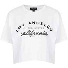 TOPSHOP Los Angeles Crop Tee (3560 RSD) ❤ liked on Polyvore featuring tops, t-shirts, shirts, crop tops, tees, white, crop tee, white tee, white cotton shirt and cotton t shirt