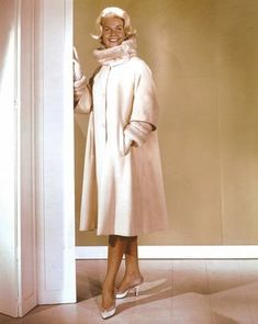 """3/15/14 11:49a  Universal  International Pictures    """"Midnight Lace""""   Doris Day  Fuzzy Collar Cozy, Warm,  Long White Coat  1960"""