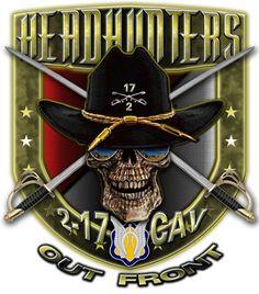 2-17 Army Cavalry Headhunters Military Shirt