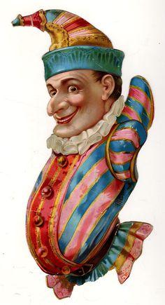 Victorian Die Cut Joker Circus Clown