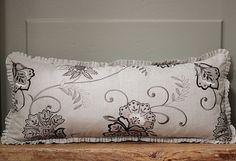 Designer Lumbar cushion with linen ruffles Clarke & by emeisonCOM