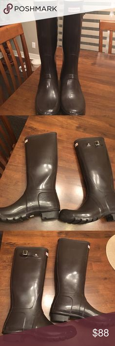 GREAT VALUE!! Tall Glossy Brown Hunter Boots Bought these off Posh and realized they were a size 10M/11F and I need a size 10. Size 11 women's. Just wanting to get my money back with shipping and give these pretty boots a nice home! Great condition!! Just the slightest bit of wear, they look excellent! No trades. Bundle and save! Smoke free home. Hunter Boots Shoes Winter & Rain Boots