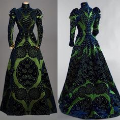 """Here's another re-post but this 1895 green tea gown from the House of Worth deserves repeat viewings!  This gown is actually coming to New York for an…"""