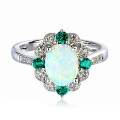 Lab-Created Opal, Emerald & White Sapphire in Sterling Silver, available at #HelzbergDiamonds