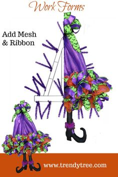 Use a Witch Hat Work Form (or Open Tree Form) to make a whimsical witch hat wreath for your door. It's easy with products from Trendy Tree! Work Forms * Mesh * Ribbon * Seasonal Decor #trendytree #witchhat #halloween #doorwreath #halloweenwreath
