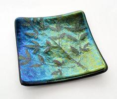 Leaf Design Fused Glass Plate by RoseMarysGlassArt on Etsy, $24.00