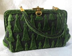 The Cocktail Pattern from Roberta diCamerino! Made in Italy- circa 1950s. This is an early example of her Cut Velvet Tapestry Handbags! The