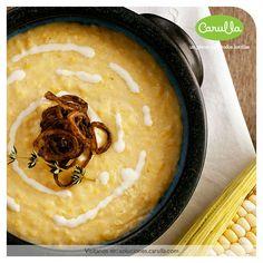 Crema de maíz con cebollita crocante