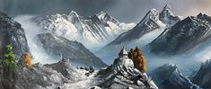 Mount Everest And Mount Ama Dablam Nepal Himalayas Original Painting Mount Everest Deaths, Mount Everest Base Camp, Nepal Mount Everest, Mount Everest Climbers, Monte Everest, World Famous Painters, Summit View, Environment Painting, Paisajes