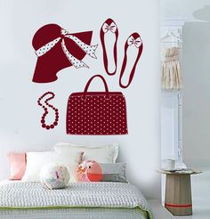 Vinyl Wall Decal Woman Hat Handbag Shoes Fashion Shopping Stickers (1703ig)
