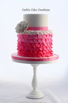 I want an ombre ruffle cake for my baby shower! Ruffle Cake  Cake by CarlasCakeCreations