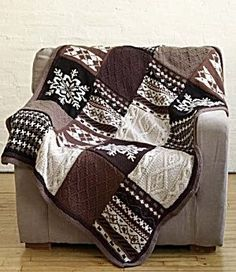Ravelry: Fireside Patchwork Afghan pattern by Nicky Epstein. This pattern is available for free. (I'd like to do just the snowflake squares on blue for a winter afghan. Knitting Patterns Free, Free Knitting, Free Pattern, Crochet Patterns, Knitted Afghan Patterns, Christmas Knitting Patterns, Crochet Ideas, Crochet Afghans, Knit Or Crochet