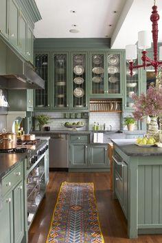 Green Kitchen Island, Green Kitchen Cabinets, Farmhouse Kitchen Island, Kitchen Cabinet Colors, Kitchen Paint, Kitchen Colors, Kitchen Islands, Kitchen Cabinetry, Kitchen Furniture