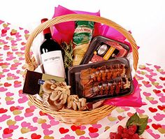 Skip dinner out on V-Day!  Put together a Luxury-At-Home Gift Basket and you'll be set for a romantic dinner for two in the comfort of your own home! We've included wine, pasta, lobster, steak, exotic mushrooms and chocolate in ours. |  #htvdaybasket. #valentine #romance