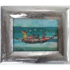 """Mini Peinture sous-verre """"Lac Rose """""""