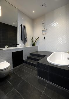 Best Bath Room Inspiration Black The Block Ideas Fitted Bathroom, Bathroom Floor Tiles, White Bathroom, Bathroom Interior, Modern Bathroom, Subway Tile Patterns, Subway Tiles, The Block Glasshouse, Masculine Bathroom