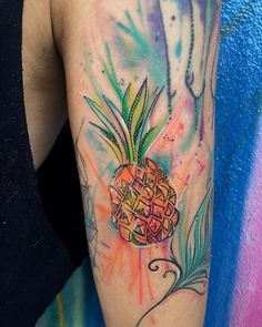 Pineapple watercolor tattoo done by @tattooandwalls #watercolor #pineapple #tattoo #wynwood #miamiart #tattooandcowynwood #miamitattoos #miamiartist