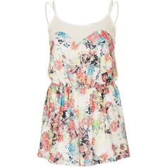 **Floral Playsuit by Love ❤ liked on Polyvore featuring jumpsuits