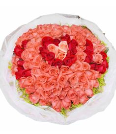 Pink, red roses a total of 99 roses bouquet for say I LOVE YOU to someone in China