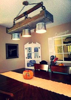 Cool Lighting Ideas For Your Antique Kitchen – Antique Kitchen Ideas Pallet Decor, Decor, Cool Lighting, Rustic Light Fixtures, Rustic Lighting, Garage Lighting, Chic Lighting, Wood Light Fixture, Home Decor