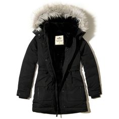 Hollister Ultimate Down Faux-Fur-Lined Parka ($240) ❤ liked on Polyvore featuring outerwear, coats, black, cinch coats, faux fur trim coat, utility parka, fur-lined coats and utility coat