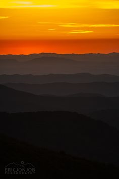"""Burning Afterglow"" Foggy mountain ridges fall into darkness in the afterglow of a Tennessee mountain sunset"