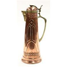 Art Nouveau Jugendstil WMF copper claret jug circa 1900,