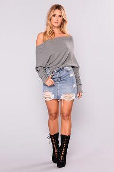 0d8d4618a395 East Hampton Cottage Off Shoulder Sweater - Charcoal Off Shoulder Sweater