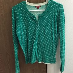 green and white polka dot target brand cardigan green with small white dots, Merona Target brand, 8 buttons, long-sleeved, small Merona Sweaters Cardigans