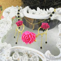 Weeping Wild Flowers Necklace  Fuchsia / Black by MisfitJewels, $48.00