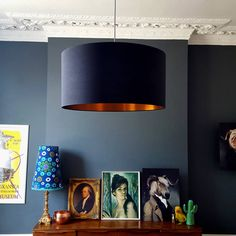 Brushed Copper Lampshade In Jet Black