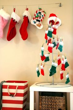 Stocking Advent Calendar with Ikea Wire Christmas Tree