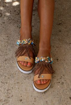 Fringed sandals/ Boho sandals/ Platforms/ Handmade by magosisters