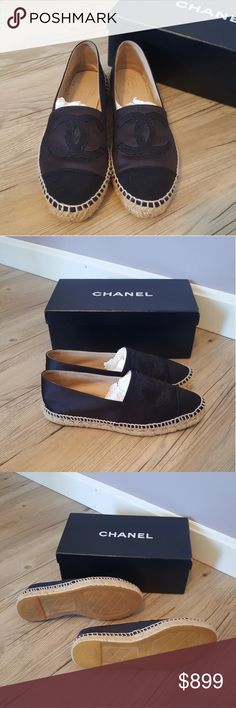 Chanel Satin Espadrilles Authentic. Worn a few times, they're just slightly too big on me unfortunately. Only signs of wear are on the inside. They look brand new otherwise. Size 38, I'm normally a size 7 and I have a bit of extra room in these. Very well taken care of and always stored in dust bags for protection. CHANEL Shoes Espadrilles