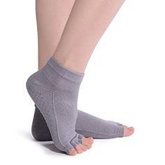 2ae9cc75be91 LLmoway Women Yoga Pilates Barre Socks Non Slip Skid Toeless Socks with  Grips Light Grey. Grippy Socks ...