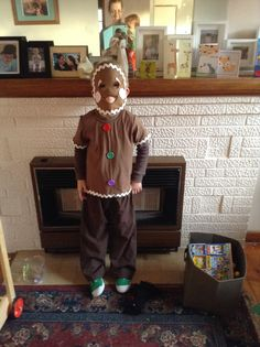 Gingerbread man costume for Fairy Tale dress up day 2014 & DIY cheap no sew Gingerbread Man Costume from the 1sthundred.com ...