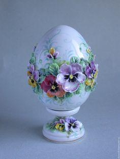 Купить Пасхальное яйцо с подставкой - яйцо пасхальное, сувенир на Пасху, подарок, ручная лепка