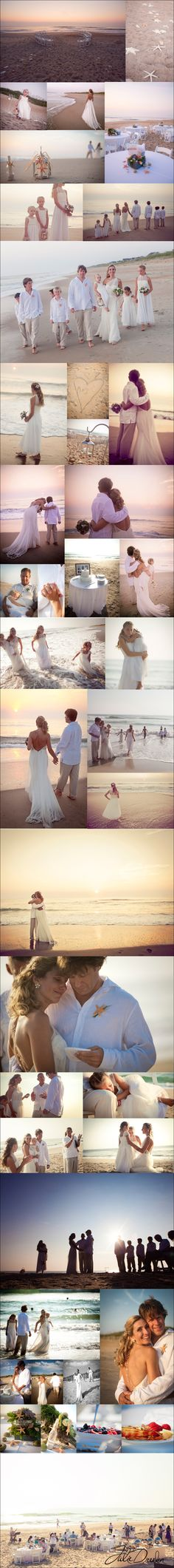 Julie Dreelins Beach Productions photographs a gorgeous beach wedding sunrise at the Sanderling Resort in Duck, NC. (This is the wedding of one very special woman who helped me find my dream dress! Her wedding truly was a dream come true for her, the photos tell the perfect story of the day!)