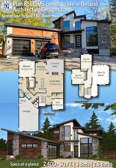 Architectural Designs Modern House Plan 85135MS client built in Ontario! 2400+ Square Feet - 3 Bedrooms - 2.5 Baths Sims 4 House Plans, Sims 4 House Building, Modern House Plans, Modern Houses, Small House Renovation, Courtyard Entry, Floor Framing, Beautiful Home Designs, Sims 4 Houses