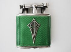 VINTAGE UNIQUE DUNHILL STERLING AND ENAMEL LIGHTER