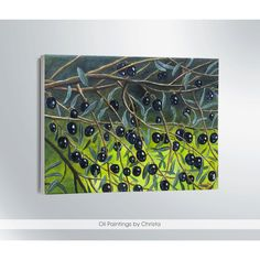 Olives painting Greek olives Greek wall art Olives on tree Tree... ($90) ❤ liked on Polyvore featuring home, home decor, wall art, greek olive tree, van gogh tree painting, tree painting, tree illustration and canvas wall art